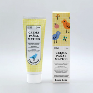 Caja y envase de crema pañal matico, Envase similar a dentífrico, de 90gr