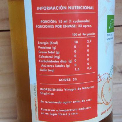 Tabla nutricional del Vinagre de Manzana Manare de 500ml