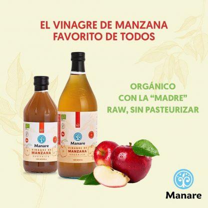 Afiche del Vinagre de manzana Manare con botellas de 500 y 1000 ml y unas ricas manzanas
