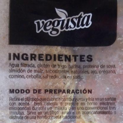 Lista de Ingredientes en la etiqueta de Hamburguesas veganas Vegusta de seitan. Están en la descripción también