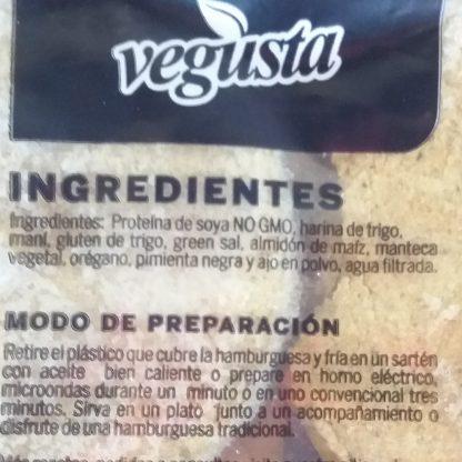 Lista de Ingredientes en la etiqueta de Hamburguesas veganas Vegusta de soya y maní. Están en la descripción también