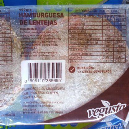Lista de Ingredientes en la etiqueta de Hamburguesas veganas Vegusta de Lenteja. Están en la descripción también