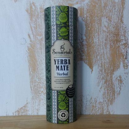 Hermoso envase de cartón con diseño de la Yerba mate Sensorial variedad Herbal