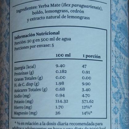 Tabla nutricional de la Yerba herbal menta: Porción 50gr en 500ml de agua. Porciones por envase: 5. Cada porción contiene 47 kcal, 0.91g de proteínas, 0,0 de grasas, 9,9g de HdC, 3,4g de azúcares totales, 4,7mg de sodio, 571,62mg de potasio,12% del hierro y 14% del magnesio que requiere un adulto o adolescente en base a una dieta de 2000 kcal