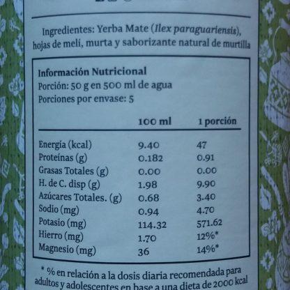 Tabla nutricional de la Yerba mate melí murta: Porción 50gr en 500ml de agua. Porciones por envase: 5. Cada porción contiene 47 kcal, 0.91g de proteínas, 0,0 de grasas, 9,9g de HdC, 3,4g de azúcares totales, 4,7mg de sodio, 571,62mg de potasio,12% del hierro y 14% del magnesio que requiere un adulto o adolescente en base a una dieta de 2000 kcal