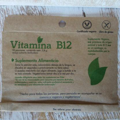 Frente del sobre que contiene sachet con vitamina B12 y cuchara medidora