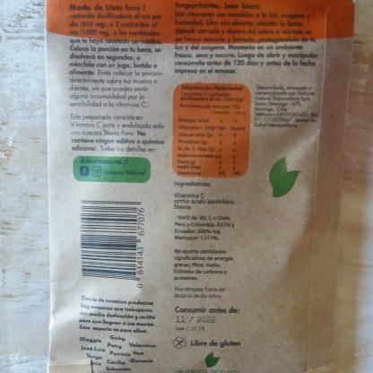 Revés del Sobre de Vitamina C. Toda la info está en la descripción del producto