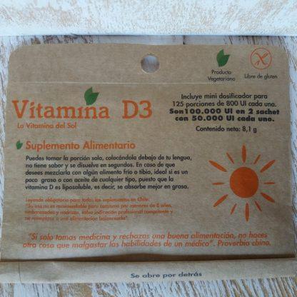 Frente del sobre que contiene 2 sachet con vitamina D3 y cuchara medidora