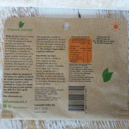 Revés del sobre de vitamina D3. La información está en la descripción del producto