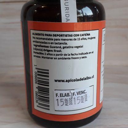 costado etiqueta capsulas de guaraná. Ingredientes: guaraná, y cápsula de gelatina vegetal. Origen: Brasil y duración 2 años
