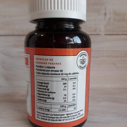 tabla nutricional de las cápsuas de guaraná veganas : 1 porción = 1 cápsula = 2 kcal, 0,1 gr de proteína, 0 gr de grasa, 0,4 gr de hidratos de carbono, 0,3 de sodio