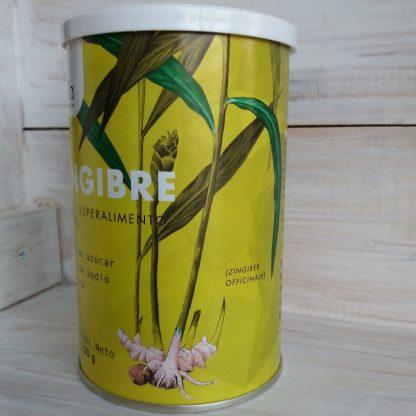 Envase de cartón con tapa plástica que cierra a presión de Jengibre en la que se aprecia la planta