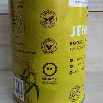 Sellos en envase de Jengibre Brota: 100% natural, Producto vegano y envase reciclable