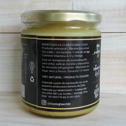 Mantequilla ghee- informacion en etiqueta. Producto artesanal. Receta ancestral. Elaborado a partir de mantequilla sin sal de pequeños productores lecheros de Chile