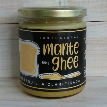 Mantequilla ghee- 450 gr. 100% NATURAL. En la etiqueta se ve un pan de molde untado con mantequilla ghee y un cuchillo