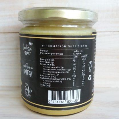 Mantequilla ghee -tabla nutricional
