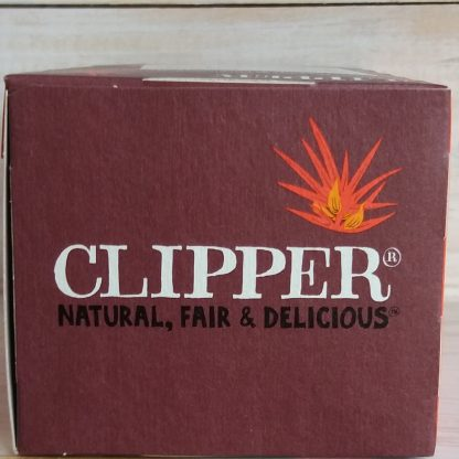 Caja de Rooibos Clipper mirada desde arriba, se ve el logo de clipper y dice natural, justo y delicioso